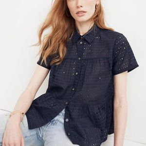 Madewell Eyelet Seamed Button-Down Shirt